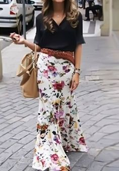 White Flowers Print Elegant Long Skirt
