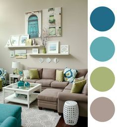 The living room color schemes to give the impression of more colorful living. Find pretty living room color scheme ideas that speak your personality. Taupe Living Room, Living Room Turquoise, Living Room Color Schemes, Living Room Green, Home Living Room, Living Room Designs, Colour Schemes, Apartment Living, Turquoise Couch