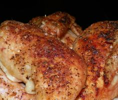 Baked Chicken Recipe (brush chicken with melted butter, sprinkle with (seasoned) salt, bake for an hour at 400.)