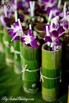 Welcome drink in bamboo glasses; Picture courtesy: Gem Weddings