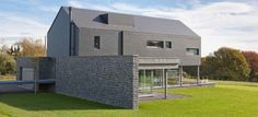ALTERNA - Brickwork cladding / natural stone / slate / textured by Eternit Modern Brick House, Natural Stone Cladding, Fibreglass Roof, Country House Design, Wood Architecture, Brick And Mortar, Brickwork, House Plans, Home And Family