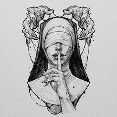 Creepy Drawings, Dark Art Drawings, Tattoo Design Drawings, Pencil Art Drawings, Art Drawings Sketches, Satanic Art, Arte Obscura, Scary Art, Dark Fantasy Art