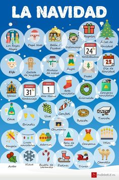 Aprende el vocabulario de la Navidad con esta infografía, fichas de vocabulario, juegos y actividades online. ¡No te pierdas los descargables! Nivel A2/B1.