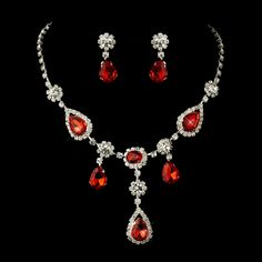Opentip.com: Elegance by Carbonneau NE-12055-S-Red Silver Clear & Red Necklace & Earrings Bridal Jewelry Set 12055