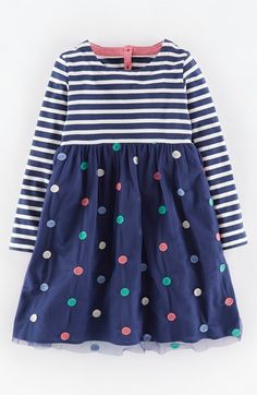 Mini Boden 'Sparkly' Long Sleeve Jersey Party Dress (Toddler Girls, Little Girls & Big Girls) available at #Nordstrom
