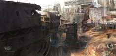 Concept art for the 'Boneyard' level from Halo: Reach