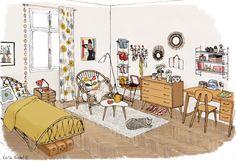 """Illustration Chambre vintage Livre: """"My sweet home"""", Fleurus édition Emilie Bredel"""