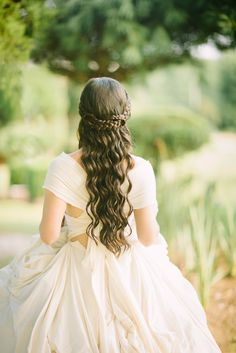 Photo by Elle Olivia www.elleolivia.com Dress by James Teague Hair by Amy Schaming  #styledbyamy #photoshoot #fashion #fashionphotography #hair #hairstylist #longhair #brunette #princess #princesshair #curls #curlingwand #paulmitchell #braid #braids #braided #romantic #elegant #bride #bridal #wedding #elleolivia #jamesteague
