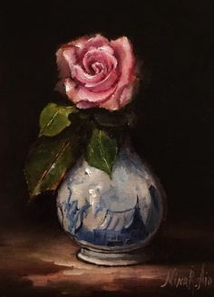 Still Life with Rose in Delft Vase is my Original Oil Painting painted in traditional classic style on archival quality linen panel 7x5x1/8 inches. Painted with professional artist grade oil paints...