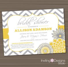 Printable Wedding Shower Invitation, Bridal Shower Invitation, Yellow, Gray on Etsy, $18.00