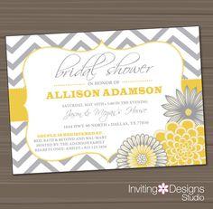 Printable Wedding Shower Invitation, Bridal Shower Invitation, Yellow, Gray on Etsy, $18.00