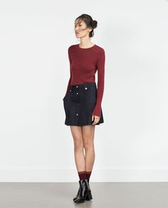 ZARA - COLLECTION AW15 - FLARED SKIRT WITH FRONT BUTTONS