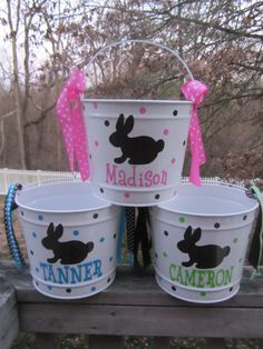 Personalized Easter Bucket, basket, pail - 10 quart size, bunny design.  Many colors and designs available