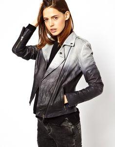 Muubaa Fornas Ombre Leather Biker Jacket (Ash)