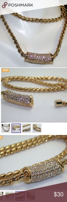 """18k Yellow Gold Plated Magnetic Necklace Material: White gold plated Color: Silver Condition: New Size: Short (16""""-20"""")  This beautiful necklace is crafted in 18k Yellow Gold over High End Jewelry Brass. The necklace contains 4.55ctw man-made White Topaz. The weight of this necklace is 46.1 grams. The pendant measures 1 inch wide. The necklace is 15 inches long. Jewelry Necklaces"""