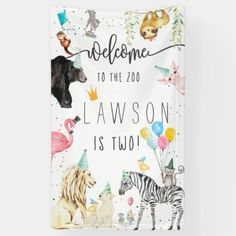 Modern Simple Party Animal Birthday Welcome Banner Animal Themed Birthday Party, 2nd Birthday Party Themes, Birthday Party Invitations, Party Animal Theme, Birthday Ideas, Zoo Birthday Cake, Zoo Party Themes, Birthday Banners, Party Banners