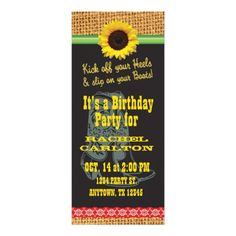Sunflower Cowgirl Birthday Party Invitation