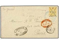 REPUBLICA DOMINICANA. 1891. STO. DOMINGO a PARÍS. Sobre entero de 90 ctvos. s. 15 ctvos. habilitado U.P.U. Circulado por correo certificado ...