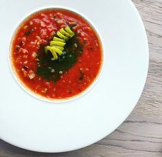 Modern gazpacho - diced tomatoes, red pepper with lime granita  @ Dune Restaurant Cafe Lounge in Mielno, Poland