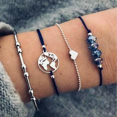 HINK Bracelets Women Jewellery Easter Gifts Sale 4pcs Set Bohemia Vintage Bangle Silver Knot Ball Open Gold Bracelet For Women Party Wedding Accessories Statement Jewelry 2019