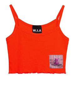 cf225bc80ccc9 Red crop tank with small glossy patch on the front Measurements  Total  long  39cm