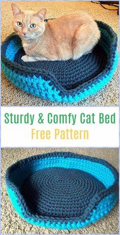 Crochet Sturdy & Comfy Cat Bed Free Pattern - Crochet Cat House Patterns