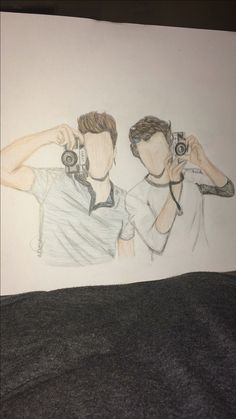 Drawing done by me @annalise_dewen of the Dolan Twins.
