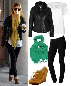Celebrity outfit inspiration // Rachel Bilson // black skinnies, leather jacket, teal scarf, suede cognac booties
