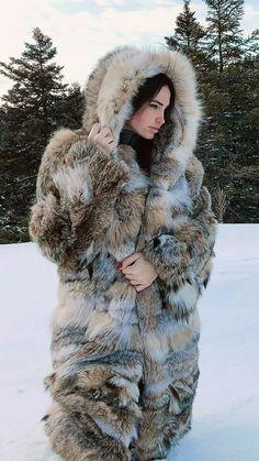 Coyote Fur Coat, Fur Coat Fashion, Crazy Costumes, Fabulous Fox, Wild Wolf, Fox Fur Coat, Great Women, Fursuit, Fur Jacket