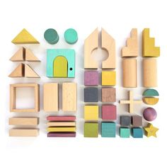 Kids kiko & gg* Tsumiki Wooden House Building Blocks House on Garmentory Montessori Toys, Designer Toys, Wood Toys, Diy Toys, Soft Colors, Educational Toys, Kids Playing, Wood Projects, Crafts