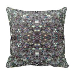 Sparkly colourful silver mosaic Mandala Throw Pillow Cushion by #PLdesign #SilverSparkles #SilverMosaic #SparklesGift