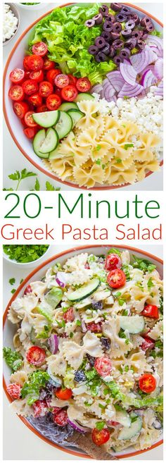 Packed with fresh ingredients and tons of flavor, my Greek Pasta Salad is ready in just 20 minutes. Bonus: The leftovers taste even better the next day! Packed with fresh ingredients and tons of flavor, my Greek Pasta Salad is ready in just 20 minutes! Barbecue Sides, Barbecue Side Dishes, Greek Salad Pasta, Soup And Salad, Quinoa Pasta, Lentil Pasta, Vegetarian Recipes, Cooking Recipes, Healthy Recipes