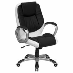 This black and white leather swivel office chair would be the perfect addition to the boardroom. It would pull in the black ceiling, white table, grey table legs and still be comfortable and easy to move.