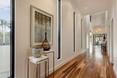 Wood Laminate Flooring in Modern Clean Hallway