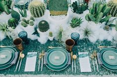 "Happy #TakeoverTuesday! We're so excited to have @jesihaackdesign sharing tons of gorgeous wedding ideas with us all day!  First up: ""LOVE the combo of blues copper and dessert prickles! Perfect for a natural affair.""  via @lauragoldenberger 