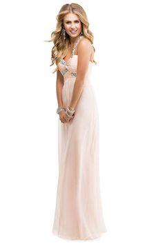 2014 Prom Dress One Shoulder A Line Floor Length Ruffles Bud Green Beads&Sequins