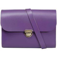 N'Damus London - Helena Purple Leather Satchel (£88) ❤ liked on Polyvore featuring bags, handbags, leather cross body purse, leather satchel, leather cross body handbags, crossbody handbags and satchel handbags
