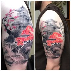 Allen Kopp Tattoo @allenkopptattoo. Black and Grey Japanese temple with color cherry blossoms. #merrick #waterfall #water #wyldchyldtattoo4life #wyldchyldmerrick…""
