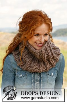 "Knitted DROPS head band and neck warmer in English rib in ""Polaris"". ~ DROPS Design"