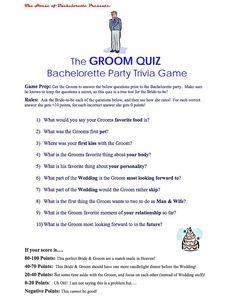 The Groom Quiz
