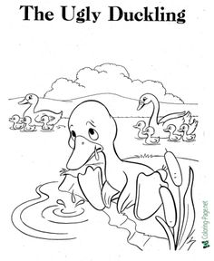 Printable Ugly Duckling coloring pages and more fairy tales coloring sheets and pictures for kids. Cool Coloring Pages, Printable Coloring Pages, Coloring Sheets, Online Games For Kids, Fun Games For Kids, Duck Drawing, Drawing For Kids, Picture Comprehension, Disney Cartoon Characters