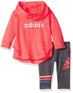 Adidas Girls' Neon Melange Hooded Set, Flash Red Heather, 24 Months