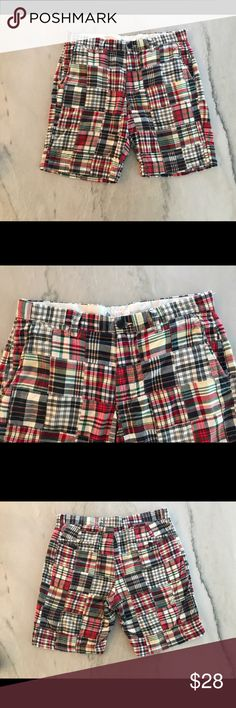 J. Crew Men's Madras Plaid Shorts Not brand new but in great condition are a pair of Madras Plaid Men's Shorts. These shorts play homage to the classic Bermuda with a narrow leg, refined cut and hook and bar closure at the waist. Since they have been washed a few times they are soft and comfortable. J. Crew Shorts Flat Front