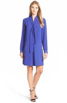 Halogen® Tie Neck Shift Dress (Regular & Petite) available at #Nordstrom