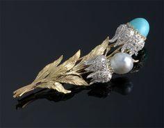 Buccellati , Flower Brooch- Turquoise,   Pearl, & Diamond.