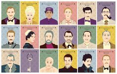 SALE - Set of 18 Prints, The Grand Budapest Hotel - Portraits, Wes Anderson…