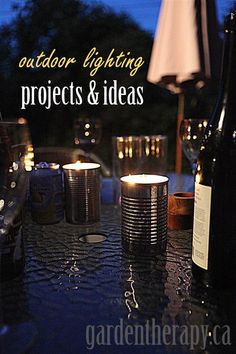 From DIY solar lights to candles, mason jars to string lights, this round up is full of creative outdoor lighting ideas to light up the garden at night. Outdoor Projects, Garden Projects, Outdoor Ideas, Outdoor Decor, Rustic Outdoor, Backyard Ideas, Outdoor Spaces, Outdoor Furniture, Citronella Candles