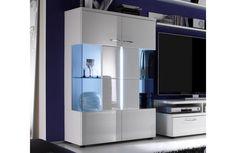 Vitrine moderne laquée blanche - Meuble de salon design - Meuble et Canape.com