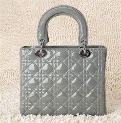 Hot Style Christian Dior Dark Grey Patent Leather Mini Lady Dior Bag Silver - Dior Handbag Cheap Louis Vuitton Handbags