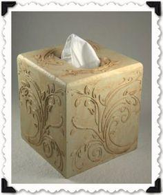 Tissue Box – Stencil Spackling Technique
